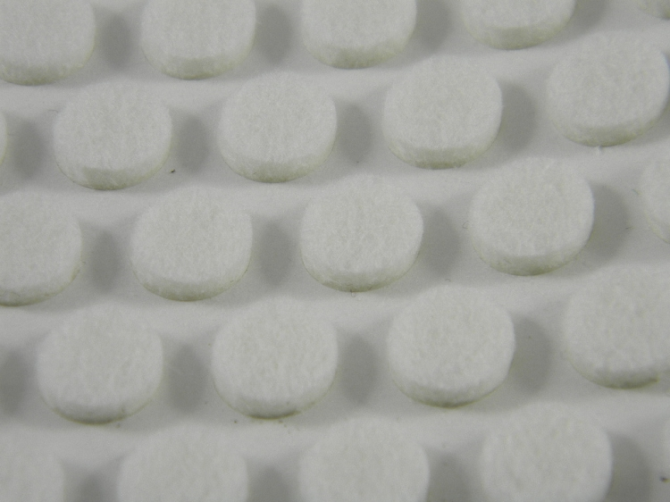 100 White Round Felt Cabinet Bumpers